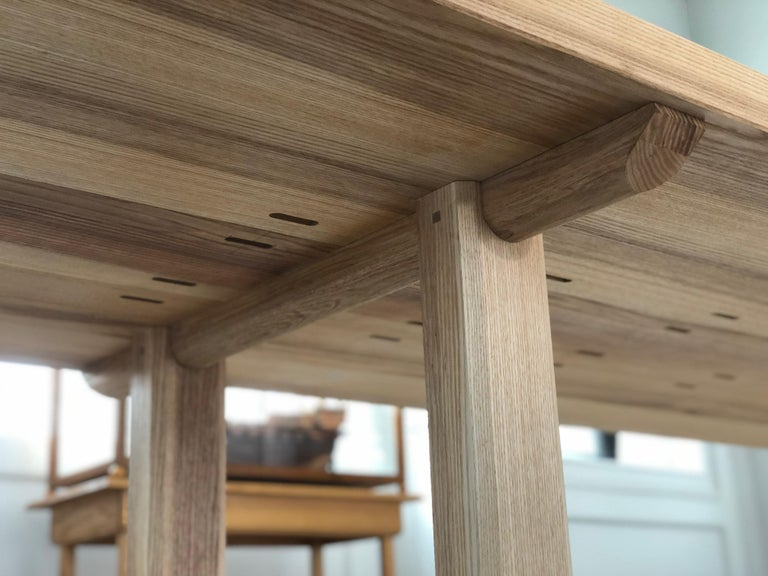 North American Trestle Leg Dining Table in Oiled Ash For Sale