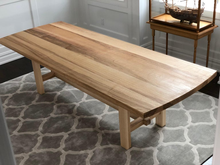 Trestle Leg Dining Table in Oiled Ash For Sale 2
