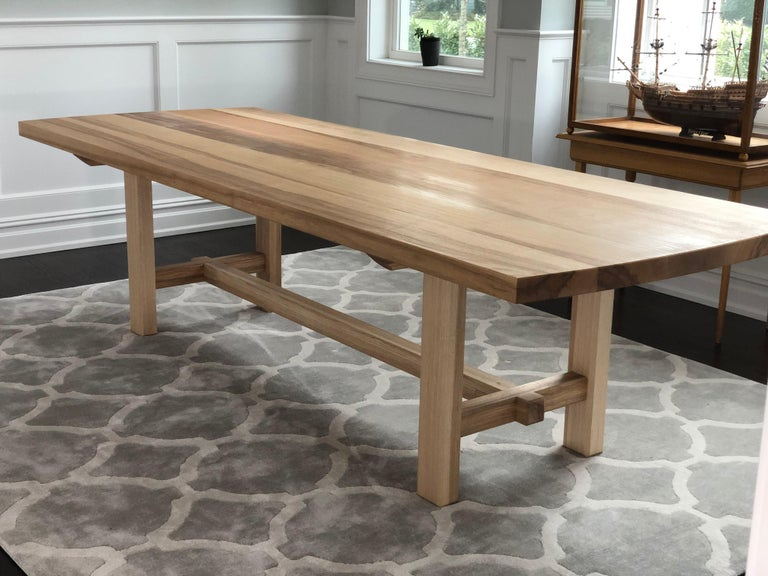 Trestle Leg Dining Table in Oiled Ash For Sale 3