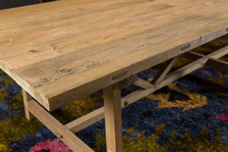 Trestle Leg Farm Table In New Condition For Sale In Norwalk, CT
