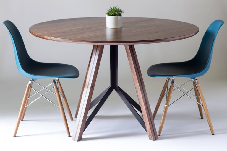 Trestle, Modern Walnut and Powder Coated Steel Round Dining Table In New Condition For Sale In West Linn, OR
