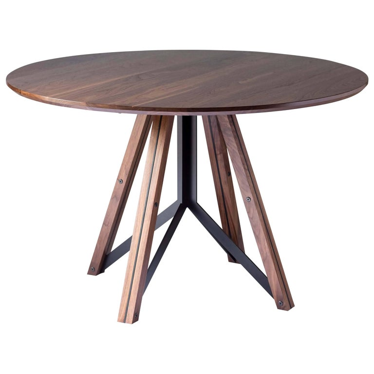 Trestle, Modern Walnut and Powder Coated Steel Round Dining Table For Sale