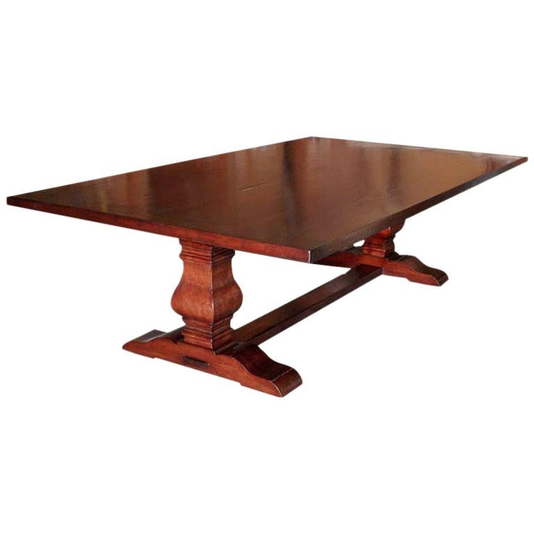 Trestle Table in Distressed Cherrywood, Built to Order by Petersen Antiques For Sale