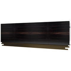 TRESTLES CREDENZA - Modern Italian Credenza in Ebony Gray with Metallic Base