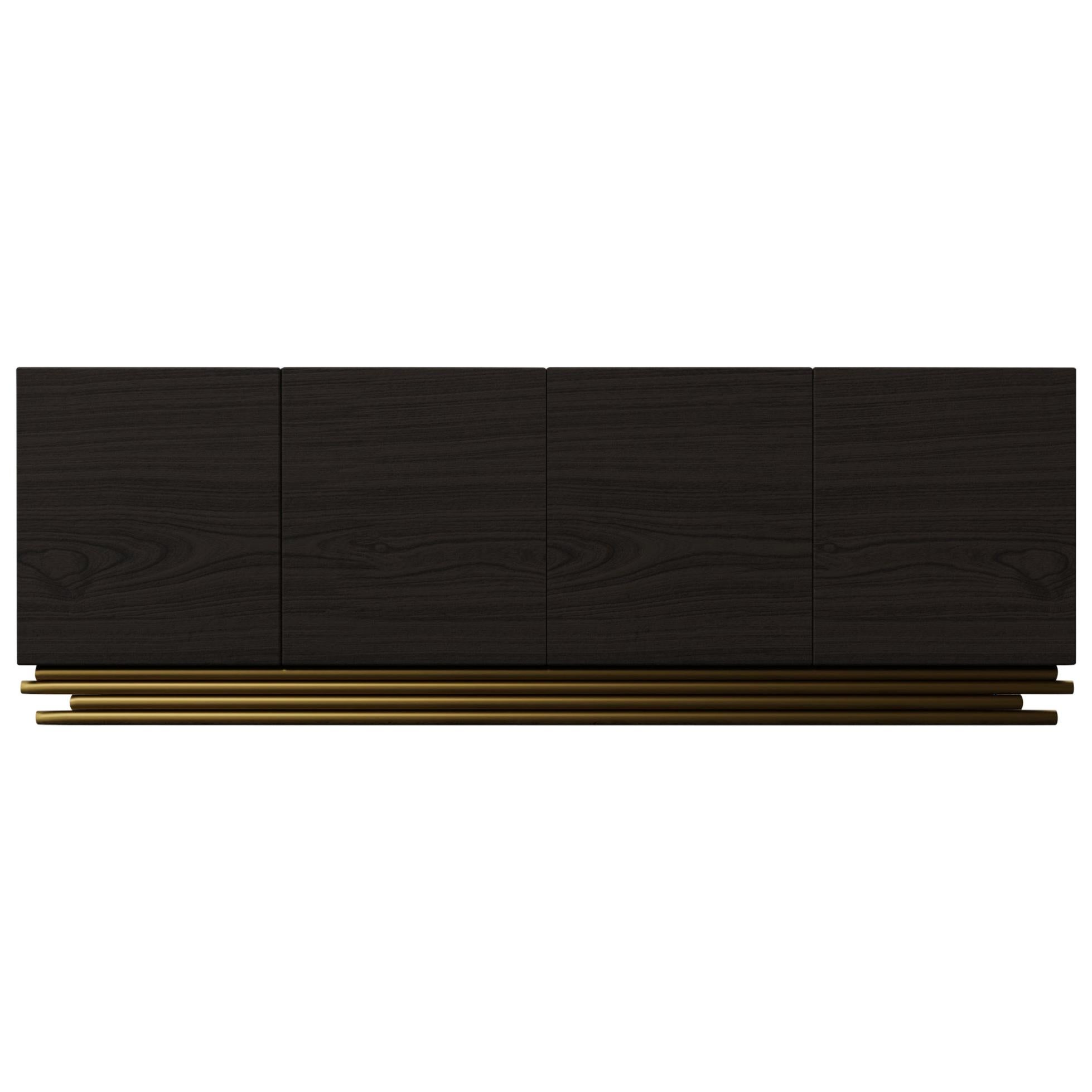TRESTLES CREDENZA, Modern Cabinet with Metallic Lacquer Metal Base