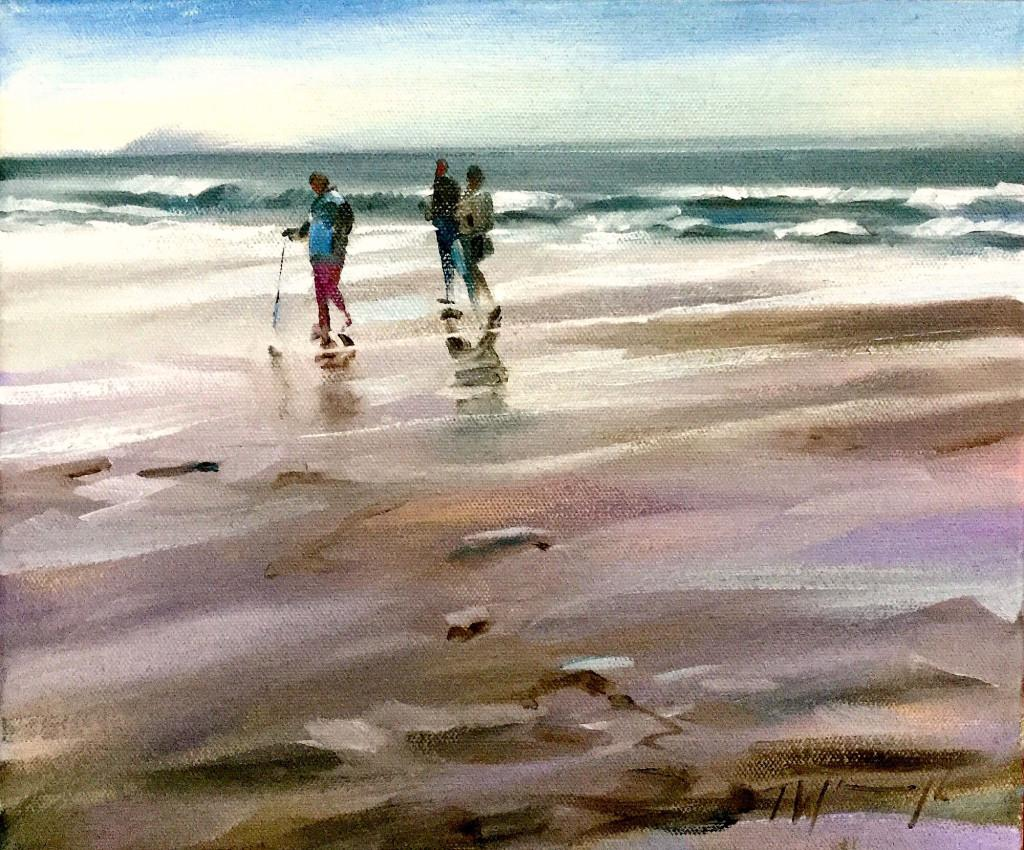 Beach Walk, Trevor Waugh, Original Painting, Seascape Art, Traditional Art