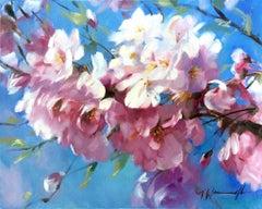 Cherry Blossom, Trevor Waugh, Original Floral Painting, Landscape Art, BrightArt