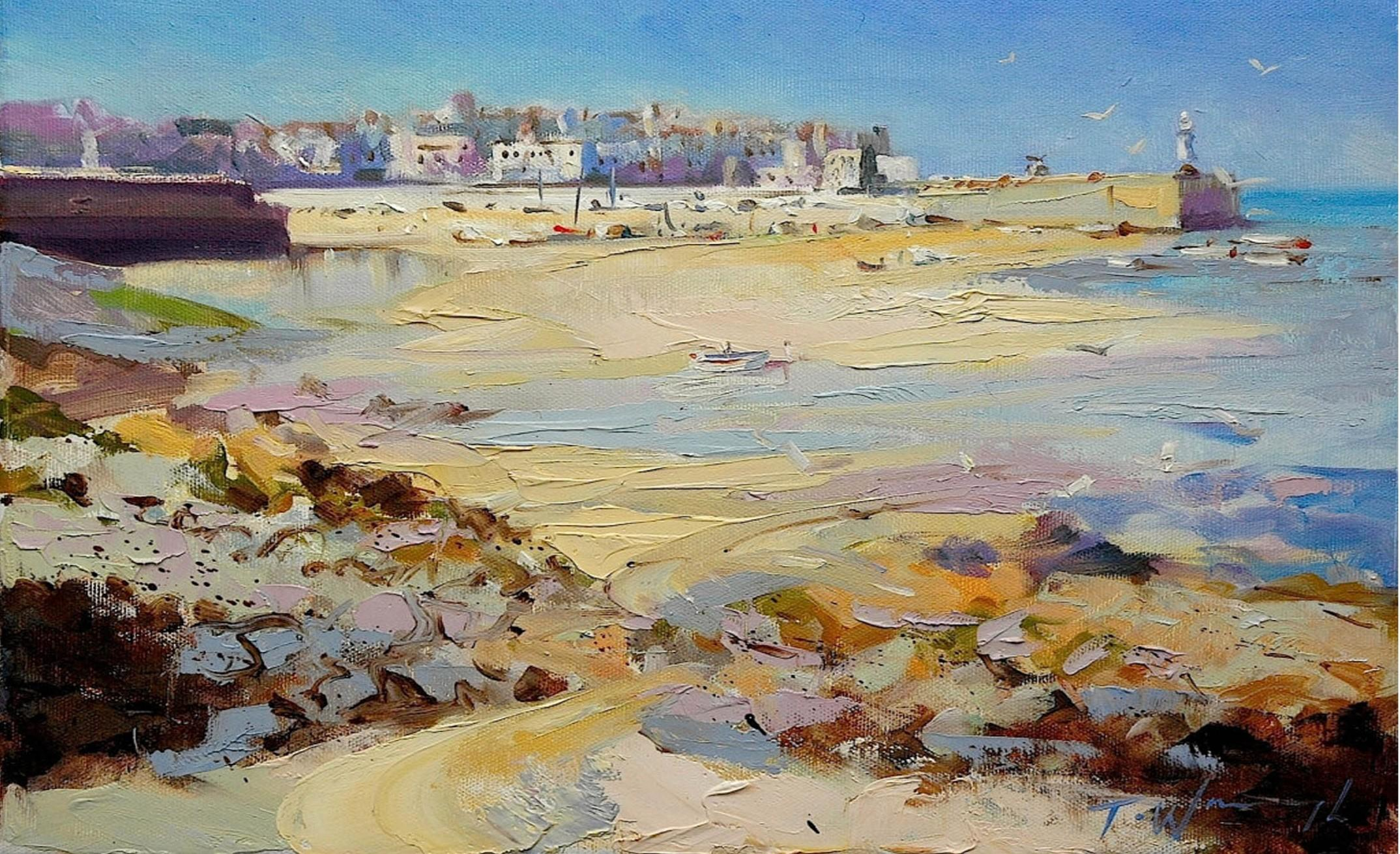 St Ives, Cornwall, Trevor Waugh, Bright Beach Art, Original Painting, Seascape
