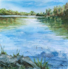 The Bobbin Mill Pond BY JANETTE GEORGE, Contemporary Landscape Painting, Water