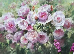 Trevor Waugh, Pink Roses at Kew, Original Oil Paintings for Sale, Flower Art