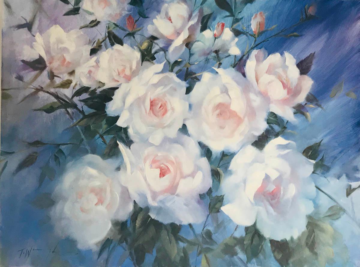 Trevor Waugh swan lake original contemporary flower painting for sale online