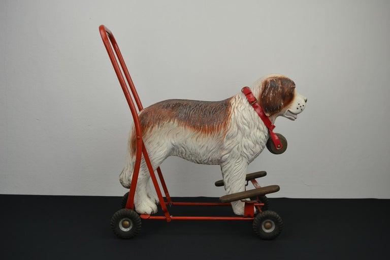 Tri-Ang St Bernard Dog Push Along Toy, 1950s For Sale 3