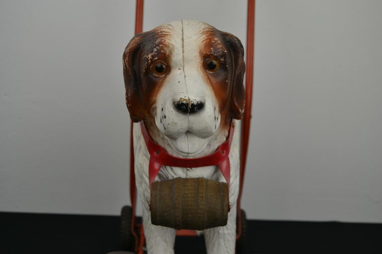 20th Century Tri-Ang St Bernard Dog Push Along Toy, 1950s For Sale