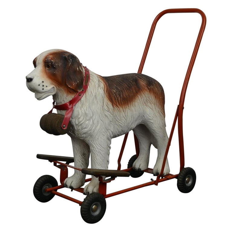Tri-Ang St Bernard Dog Push Along Toy, 1950s For Sale