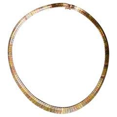 Tri-Color 14 Karat Gold Cleopatra Style Necklace 24.9 Grams