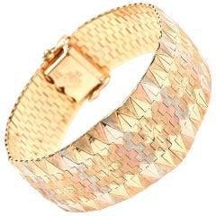 Tri-Color 18 Karat Gold Diamond Patterned Cuff Bracelet Vintage Signed
