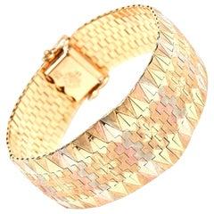 Tri-Color 18 Karat Gold Diamond Patterned Signed Cuff Bracelet Vintage