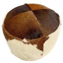 Tri-Color Cowhide Pouf Ottoman