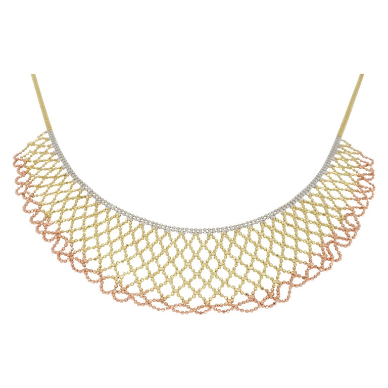 Tri-Color Diamond Cut 14 Karat Gold Collar Style Necklace