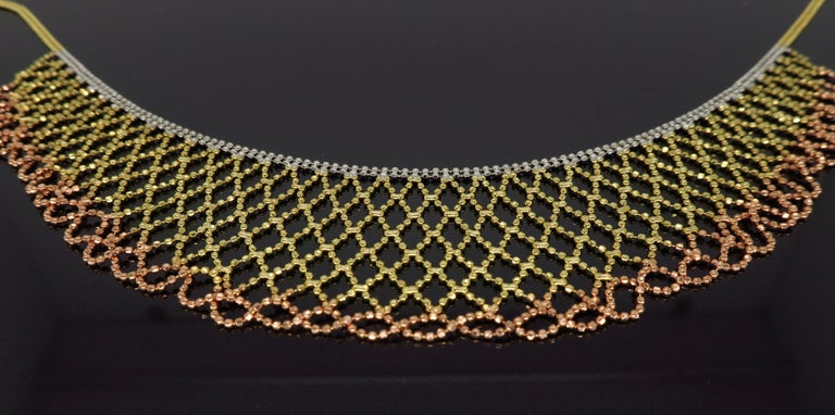 Tri-Color Diamond Cut 14 Karat Gold Collar Style Necklace In New Condition In Webster, NY