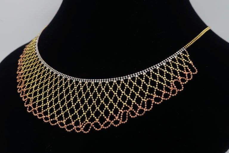 Tri-Color Diamond Cut 14 Karat Gold Collar Style Necklace 2