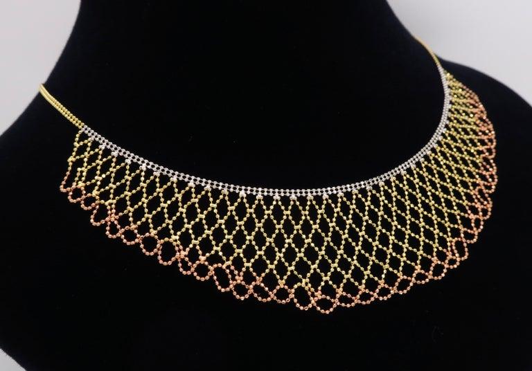 Tri-Color Diamond Cut 14 Karat Gold Collar Style Necklace 3