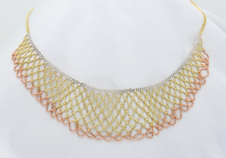 Tri-Color Diamond Cut 14 Karat Gold Collar Style Necklace 4