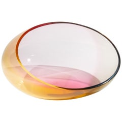 "Tri Color Glass bowl ""Fidji"" by Kjell Engman for Kosta Boda"