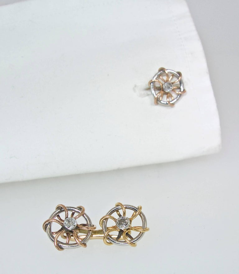 Vintage Cufflinks of Sailing motif, Austrian, circa 1920. In Excellent Condition For Sale In Aspen, CO