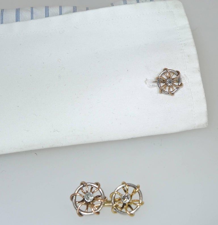 Women's or Men's Vintage Cufflinks of Sailing motif, Austrian, circa 1920. For Sale