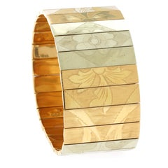 Tri-Color Gold Engraved Plaque Bracelet. 62.9 Grams