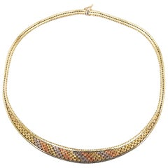 Mixed Metal Necklace, Gold Link Chain Choker, 14K Yellow, White, Rose Gold