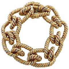 Tri-Color Gold Twisted Rope Bracelet