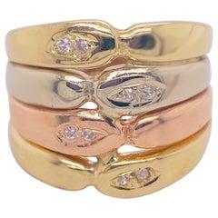 Tri-Color Mix Ring in 14 Karat Yellow Gold, White Gold, Rose Gold, 14 Karat