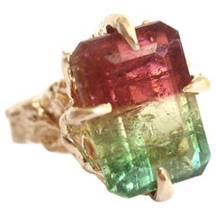 Tri Color Red, Yellow and Green Tourmaline Cocktail Ring in 14 Karat Gold