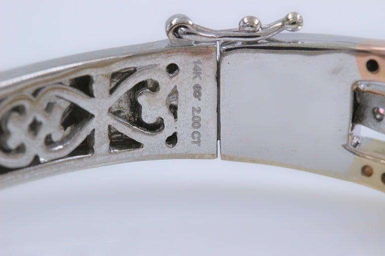 Women's Tri-Color Round Diamond Bangle Bracelet 14 Kt White Yellow Rose Gold 2.00 Tcw For Sale