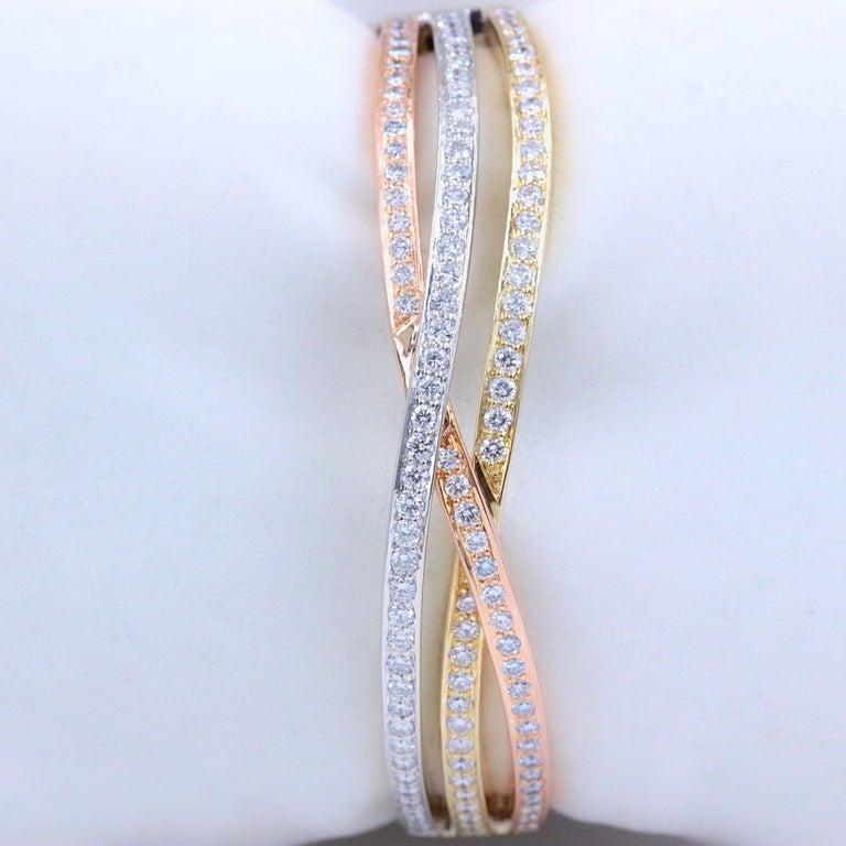 Tri-Color Round Diamond Bangle Bracelet 14 Kt White Yellow Rose Gold 2.00 Tcw For Sale 1