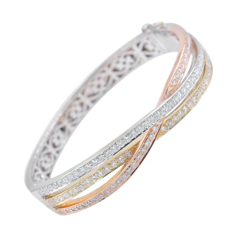 Tri-Color Round Diamond Bangle Bracelet 14 Kt White Yellow Rose Gold 2.00 Tcw For Sale