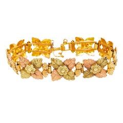 Tri-Colored 14 Karat Gold Leaf and Flower Bracelet, Custom Estate Piece