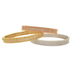 Tri-Colored Gold and Diamond Bracelet Set