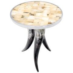 Tri Legged Horn Base Polished Horn Round Tile Top Side End Table