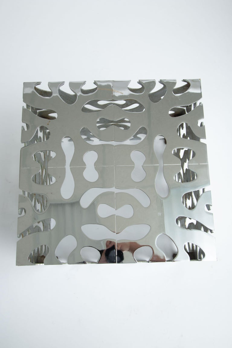 Tri Mark Reticulated Steel Cube Table For Sale 4
