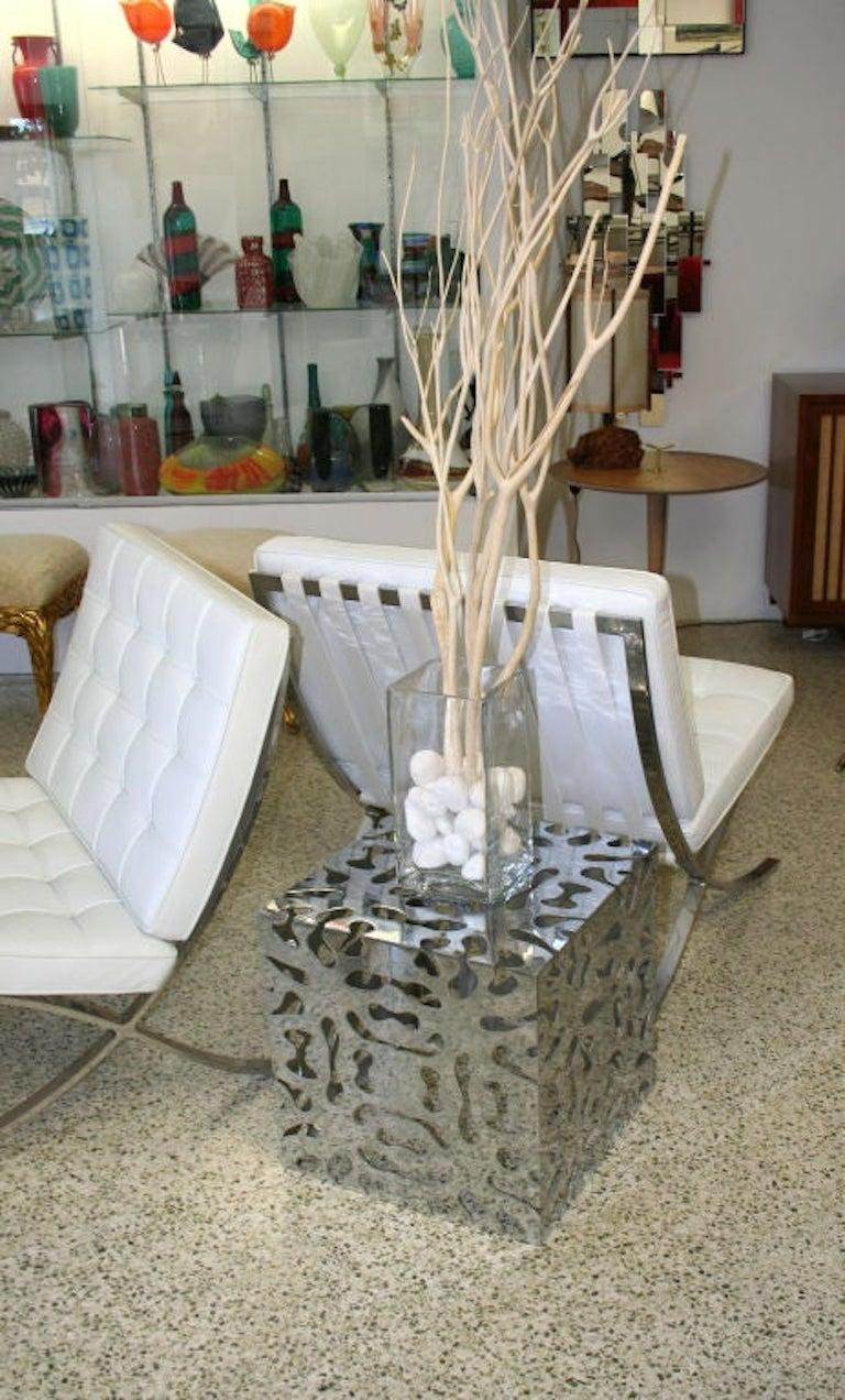 American Tri Mark Reticulated Steel Cube Table For Sale
