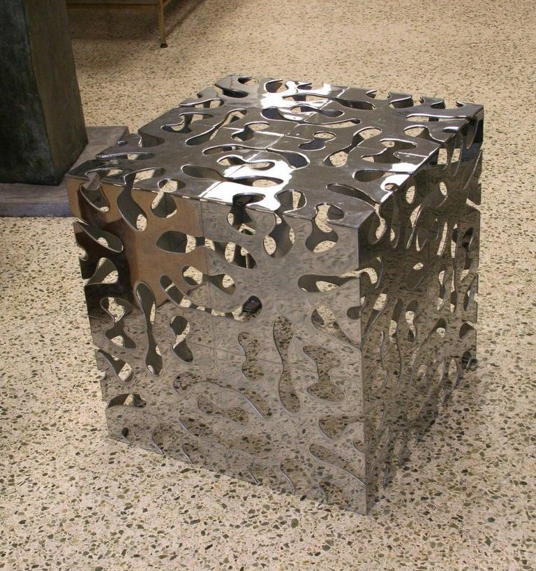 Late 20th Century Tri Mark Reticulated Steel Cube Table For Sale