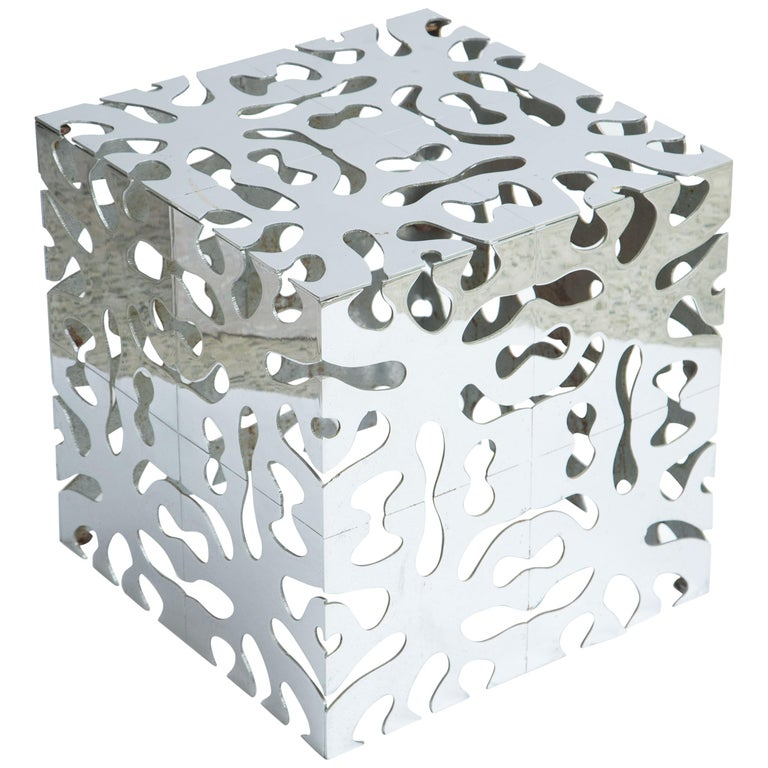 Tri Mark Reticulated Steel Cube Table For Sale