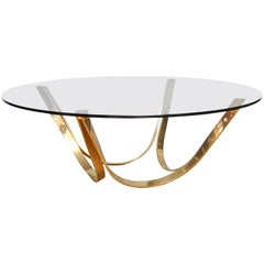 Tri-Mark Round Coffee Table with Brass Legs and Glass Top