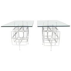 Tri Mark Studios Brutalist Side Tables Manner of Paul Evans, Modernist Design