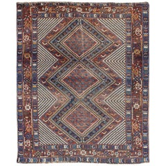 Tri-Medallion Antique Persian Afshar Rug in Colorful Tones of Red, Blue, Green