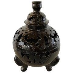 Tri-Pod Leg Ebonized Lidded Urn