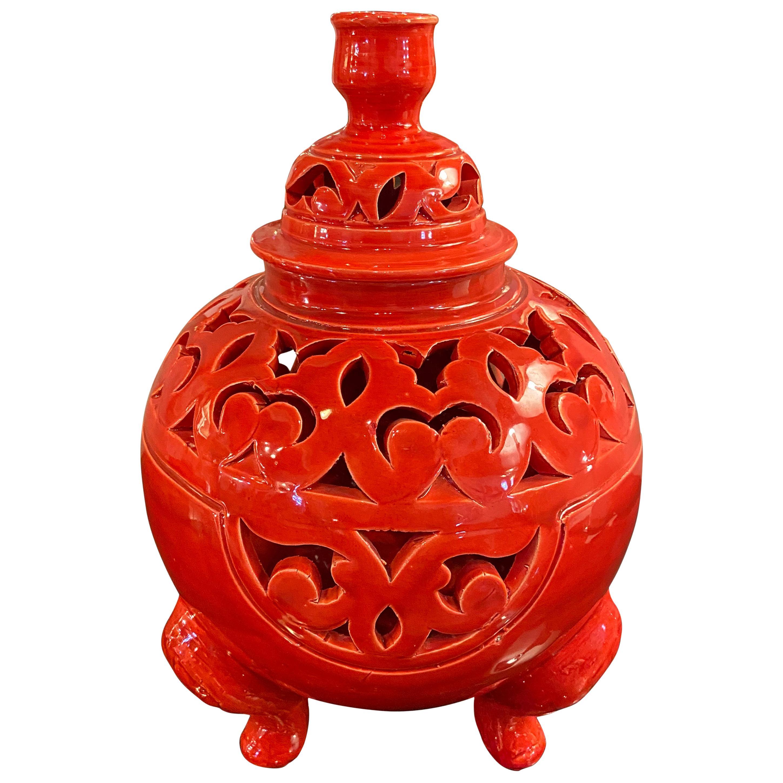 Oriental Red Ceramic Lidded Vase or Urn